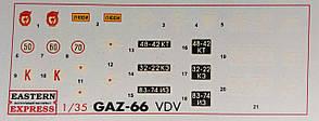 Декаль для сборной модели грузового автомобиля ГАЗ-66 в масштабе 1/35