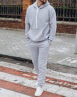 Светло-серый мужской спортивный костюм с капюшоном на флисе Зимний мужской спортивный костюм серый XL размер