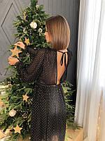Новогоднее женское платье миди с золотым напилением
