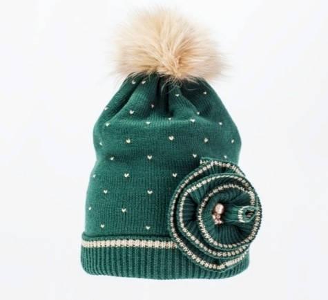 Детская качественная модная вязаная шапка, украшенная меховым бумбоном, фото 2
