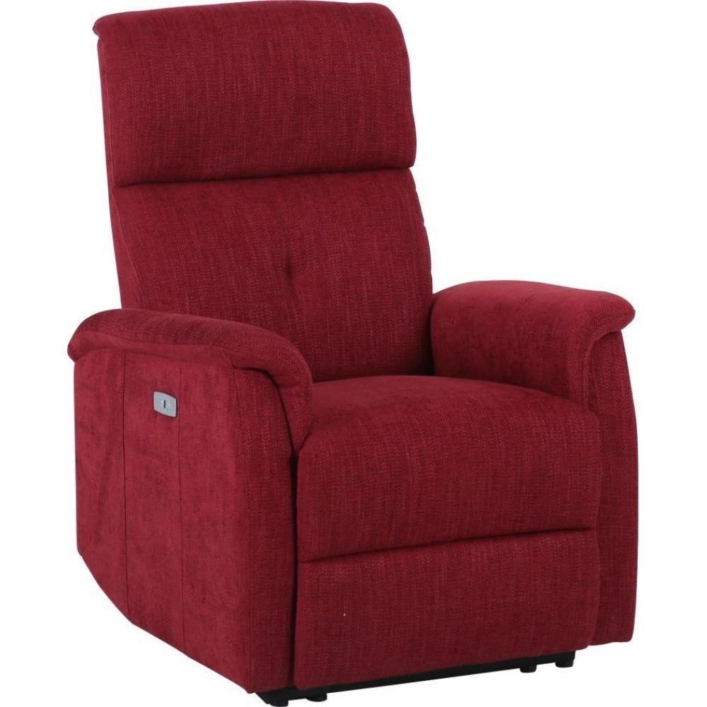Кресло Doctor Max DM02004 с электрореклайнером ткань красное вино (U0000298)