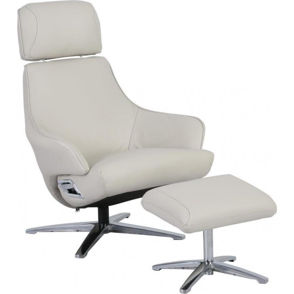 Кресло Doctor Max DM02008 поворотное с реклайнером и пуфом кожа кремовый (U0000310)