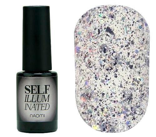 """Гель-лак для ногтей Naomi """"Self Illuminated"""" №34 Плотный серебро с блестками, слюдой, фольгой-стружкой и"""