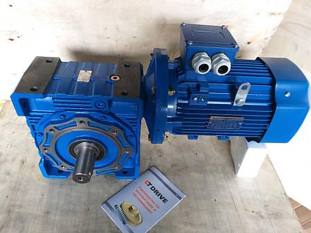 Червячный мотор-редуктор NMRV150 1:10 с эл.двигателем 15 кВт 1500 об/мин, фото 2