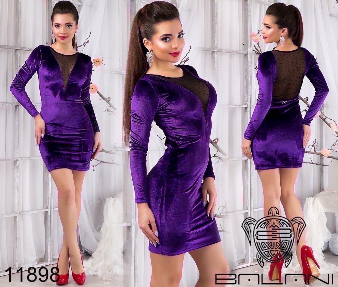 Платье женское короткое приталенное велюровое, разных цветов, р.S, L, Код 2050Д