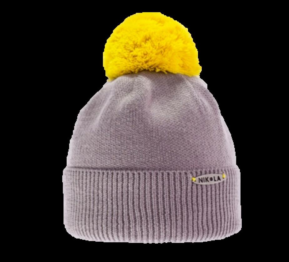 Детская практичная вязаная шапочка с ярким бумбоном