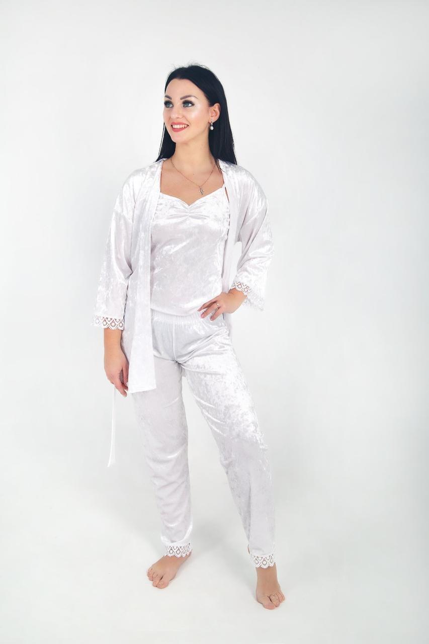 Домашній костюм трійка жіночий мармуровий велюр