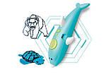 Бездротова 3D ручка у вигляді дельфіна (низькотемпературна 3д-ручки для дітей та дорослих) синя, фото 3