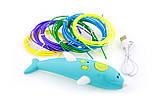 Бездротова 3D ручка у вигляді дельфіна (низькотемпературна 3д-ручки для дітей та дорослих) синя, фото 8