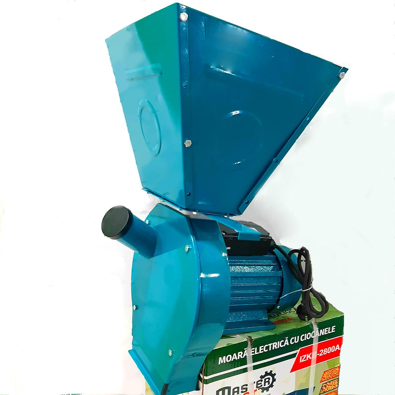 """Зернодробилка электрическая """"Master Kraft"""" 2.8 кВт. до 180кг/ч. Для зерна, перца, кукурузы. Увеличенный бункер"""