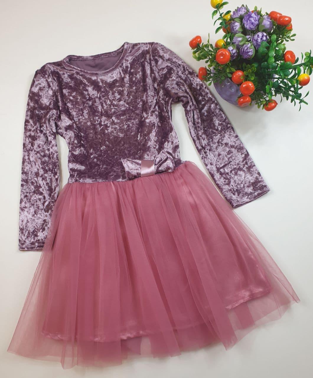 Платье велюровое с пышной юбкой на девочку 92,98,104,110 см Украина фрез