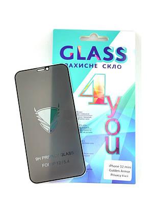 Захисне скло iPhone 12mini (5.4) Golden Armor Privacy Black 4you, фото 2