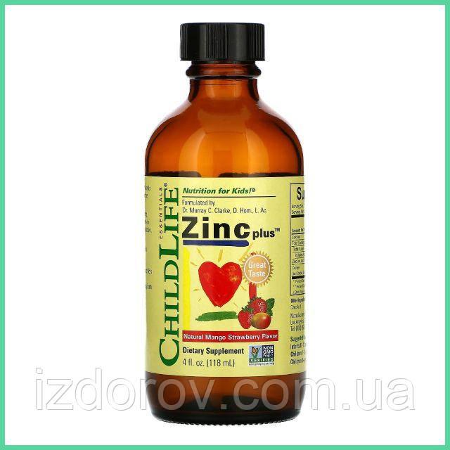 ChildLife, Essentials, Цинк плюс, Zinc Plus, Natural Mango Strawberry Flavor, 118 мл