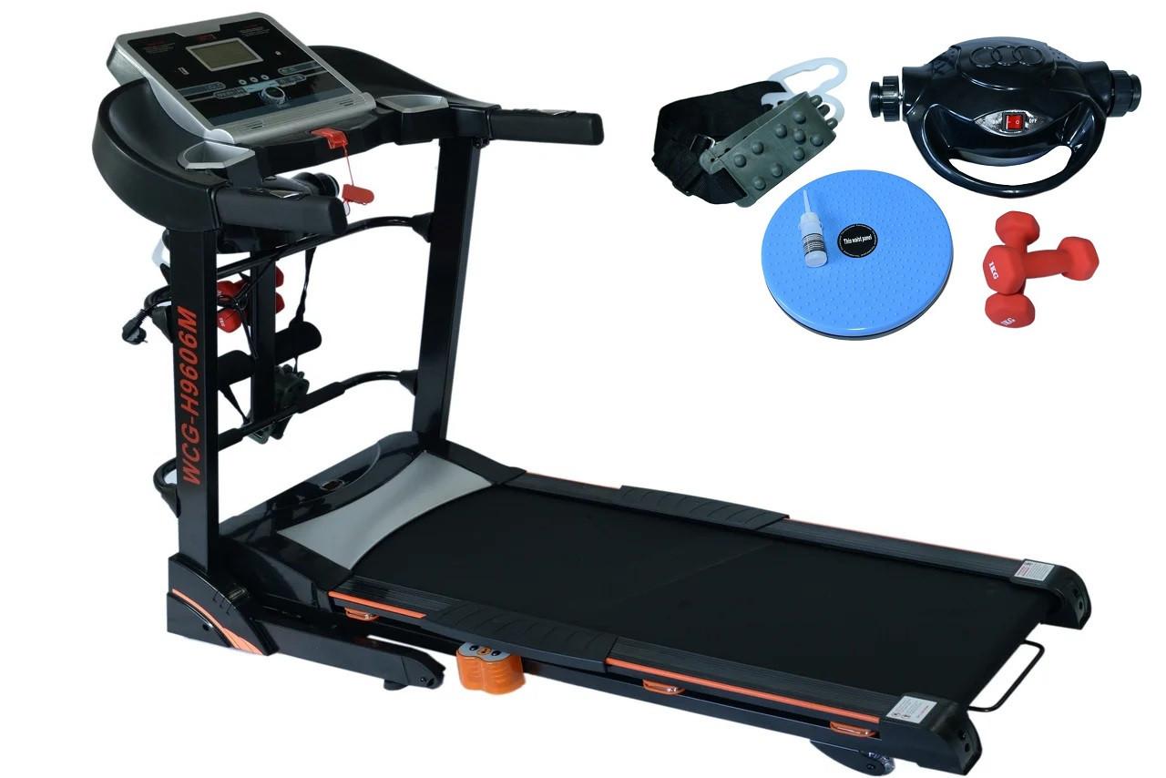 Беговая дорожка электрическая с массажером гантелями WCG-H9606M для дома (бігова доріжка до 120 кг складная)