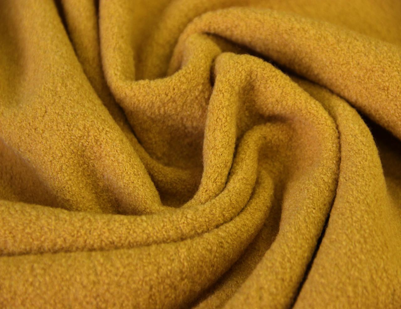 Пальтовая ткань итальянская шерстяная натуральная песочный жёлтый однотонная DOK 9