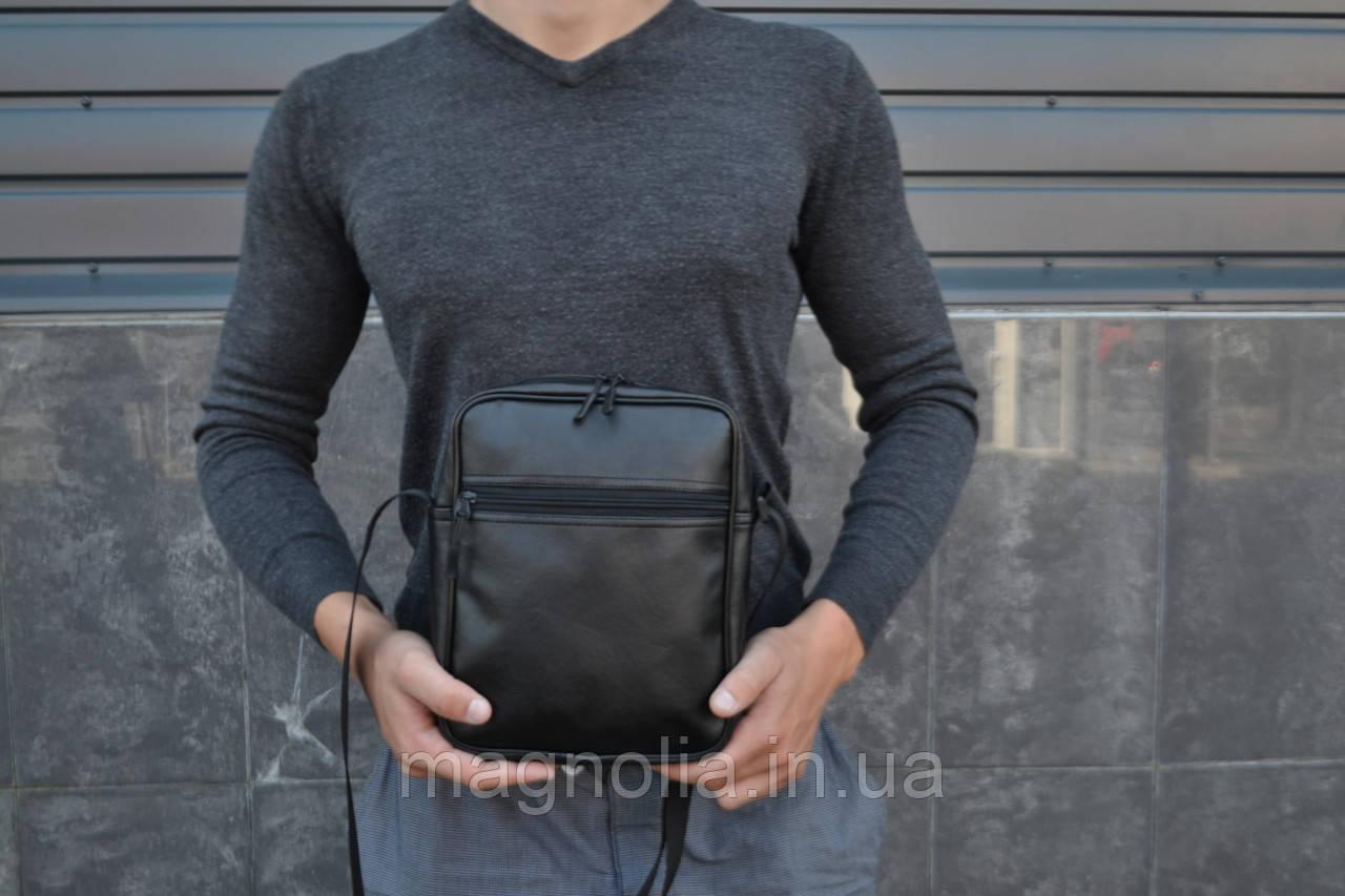 Мужская сумка мессенджер XL / мужская сумка через плечо / Сумка чоловіча чорна / Барсетка