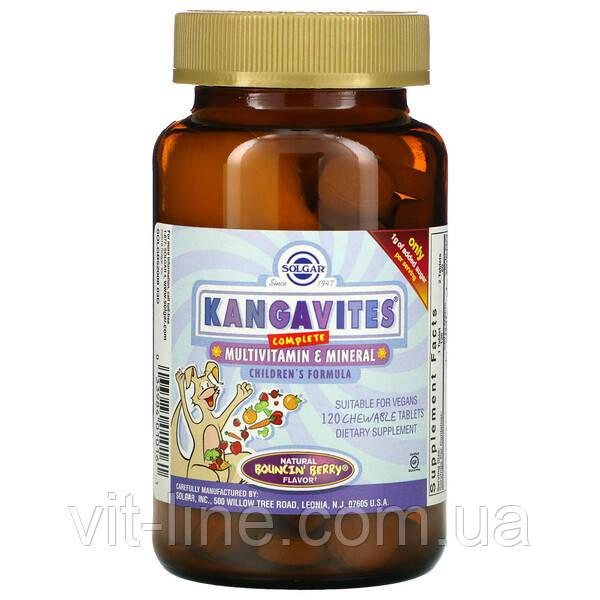 Solgar Kangavites полноценный детский комплекс с витаминами и минералами, со вкусом ягод 120 жевательных таб