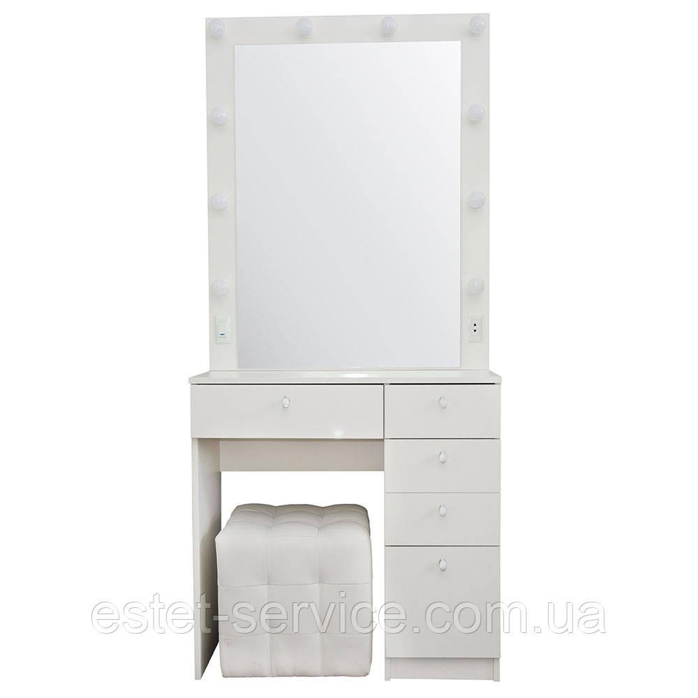 Визажный стол М615 с большим зеркалом на одну тумбу