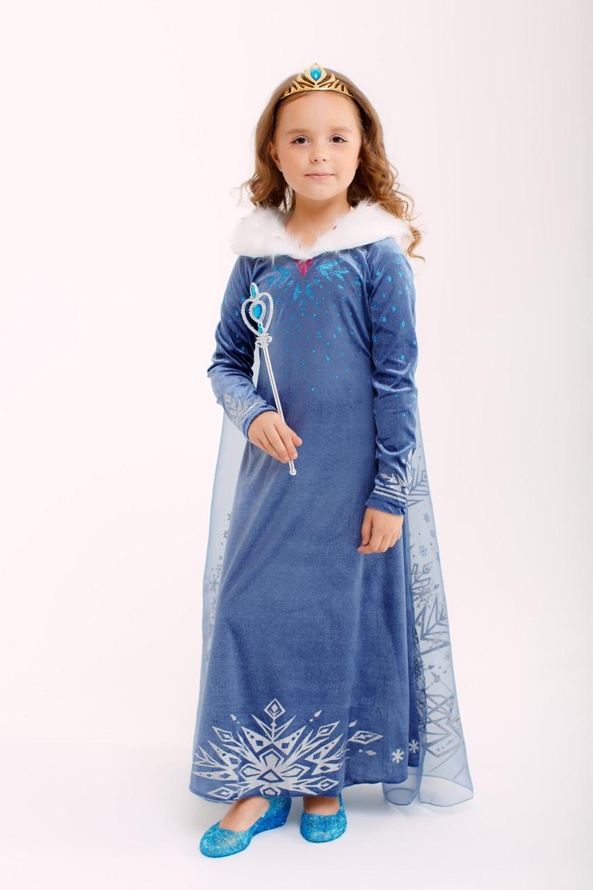Карнавальное велюровое платье принцессы с мехом