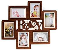 Фоторамка коллаж на 6 фото Декор Карпаты Baby 57х50 см Коричневый (H6-064A)