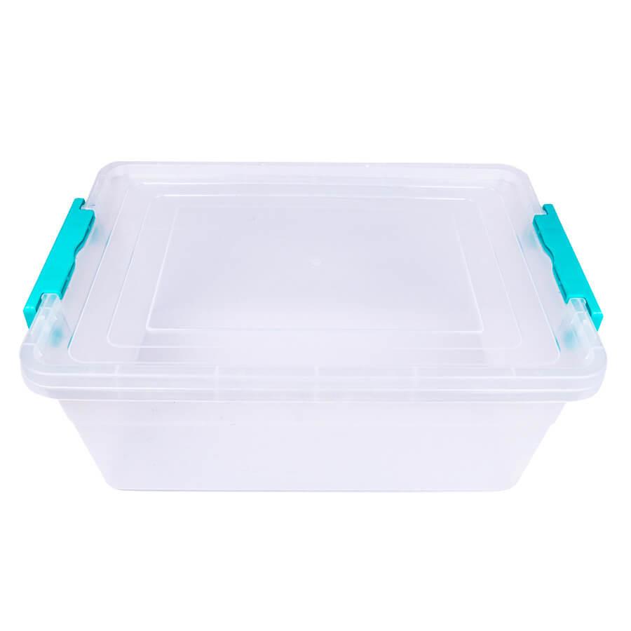 Пластиковый контейнер для продуктов прямоугольный 8 л на защелках