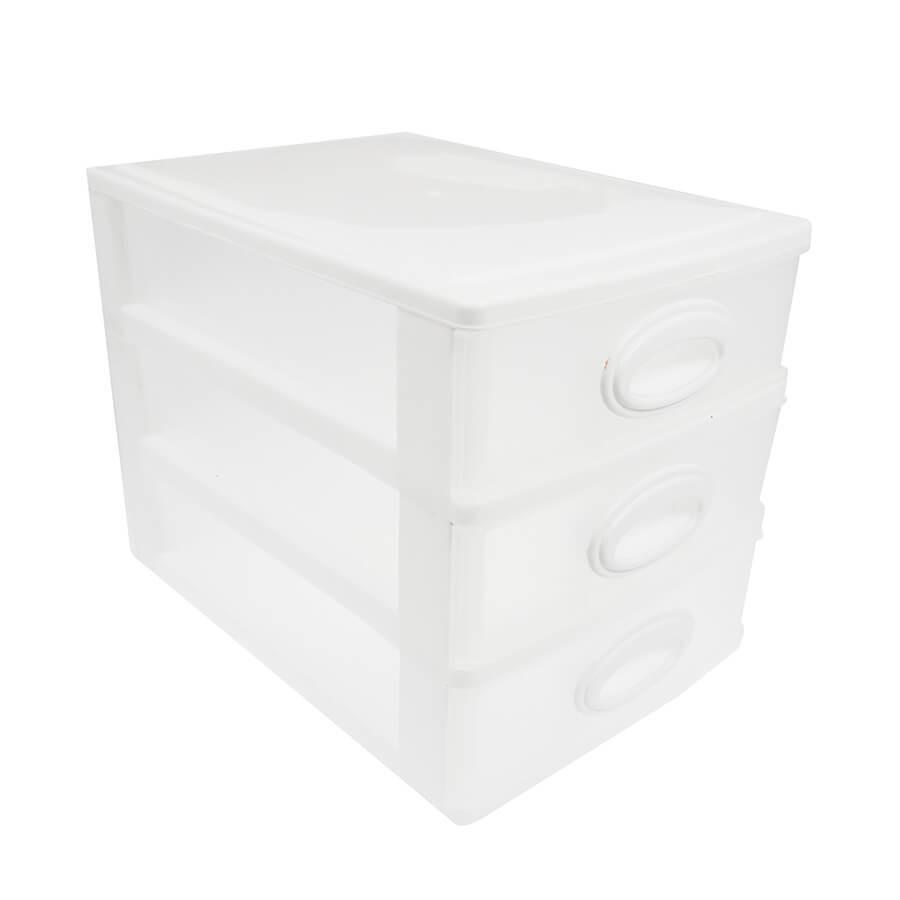 Мини комод пластиковый на 3 ящика / секции (белый)