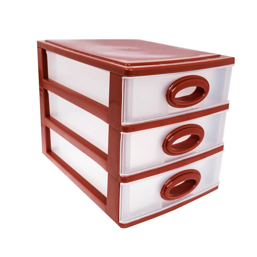 Мини комод пластиковый на 3 ящика / секции (кофейный)