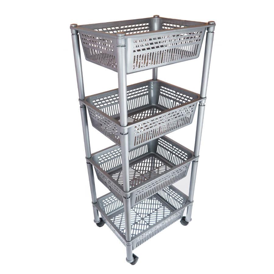 Этажерка пластиковая прямоугольная на колесиках (серая)