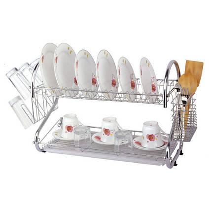 Сушилка для посуды Kamille двухъярусная 68х25.5х39.5см KM-0766A, фото 2