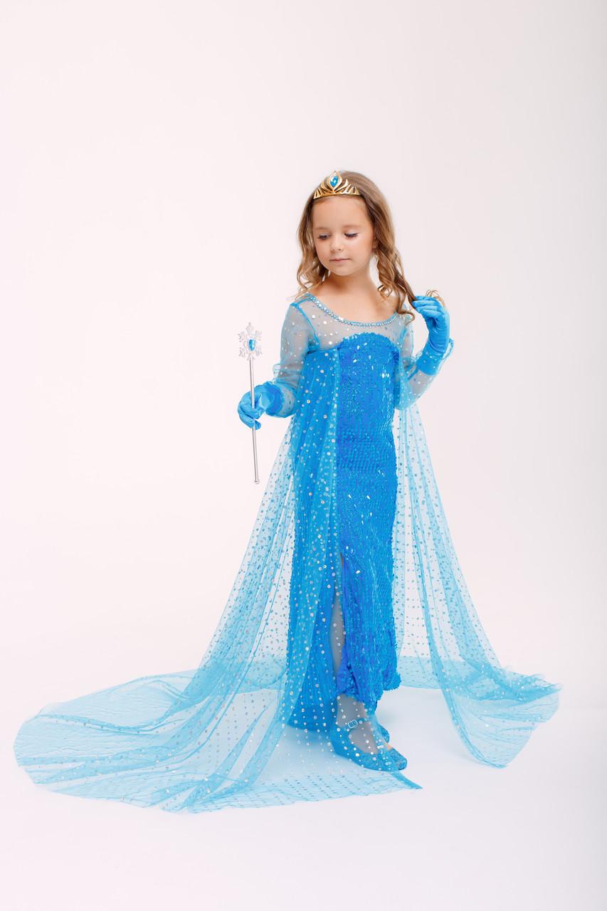 Детское карнавальное платье Эльзы со шлейфом и пайетками