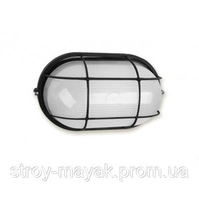 """Світильник настінно-стельовий """"ПРОМ"""" Ecostrum скло-метал, чорний, Е27, 60/75W, IP54 з решіткою"""