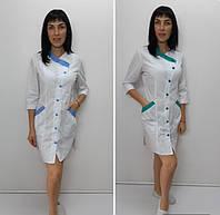 Жіночий медичний халат Китай бавовна три чверті рукав, фото 1