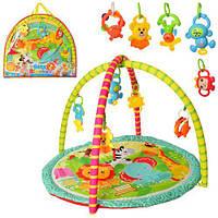 Коврик для младенца 8801-31  77-65см, дуга 2шт, подвески-погремушки 5шт, в сумке, 61-55-6см