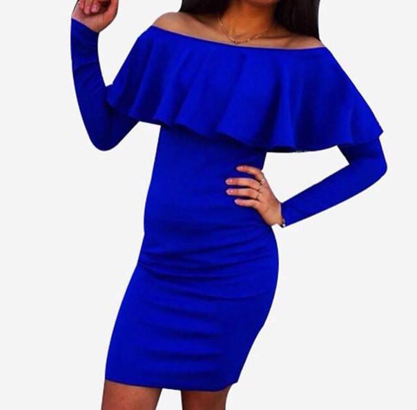 Платье с длинным воланом у горловины (разные цвета)