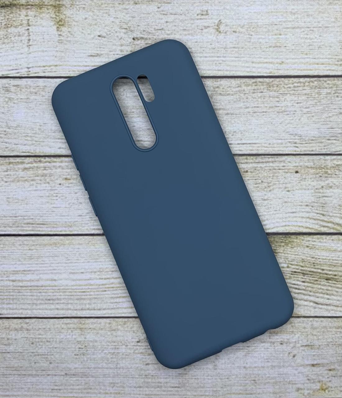 Чехол для Xiaomi Redmi 9 силиконовый цветной бампер серо-голубой
