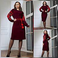 Платье теплое в народном стиле, красивое теплое платье с маками