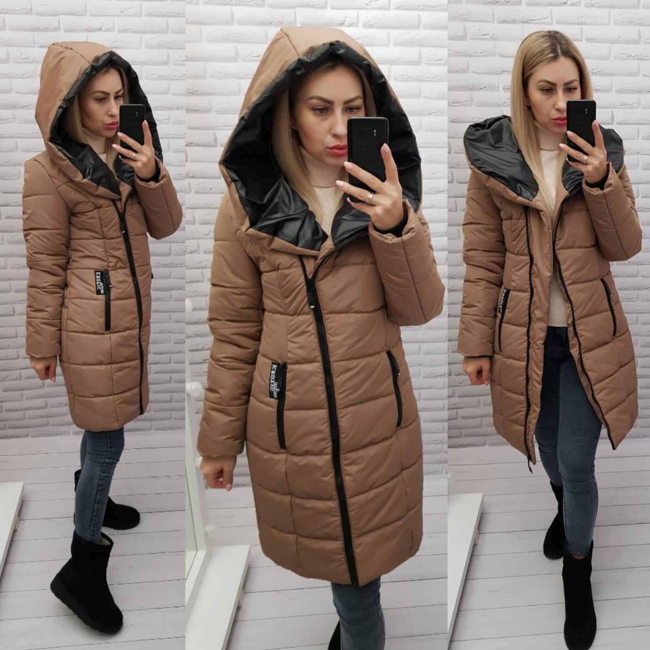 Зимняя куртка-пуховик женская 2021, арт 414, цвет кофе с молоком