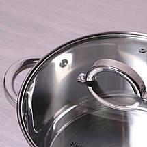 Кастрюля с крышкой Kamille 4.5л из нержавеющей стали и полыми ручками для индукции и газа KM-5622S, фото 3