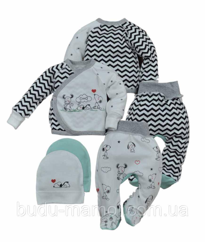 Комплект в роддом для новорожденного распашонка ползунки шапочка Люкс