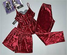 Женская велюровая пижама тройка майка+штаны+шорты. Размеры 42-44, 46-48. Вишневый