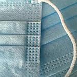 Медицинская маска голубая с мельтблауном, 3 слоя СМС (спанбонд, мельтблаун, спанбонд), фото 4