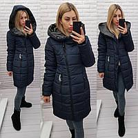 Зимняя куртка-пуховик женская 2021, арт 414, цвет темно-синий, фото 1