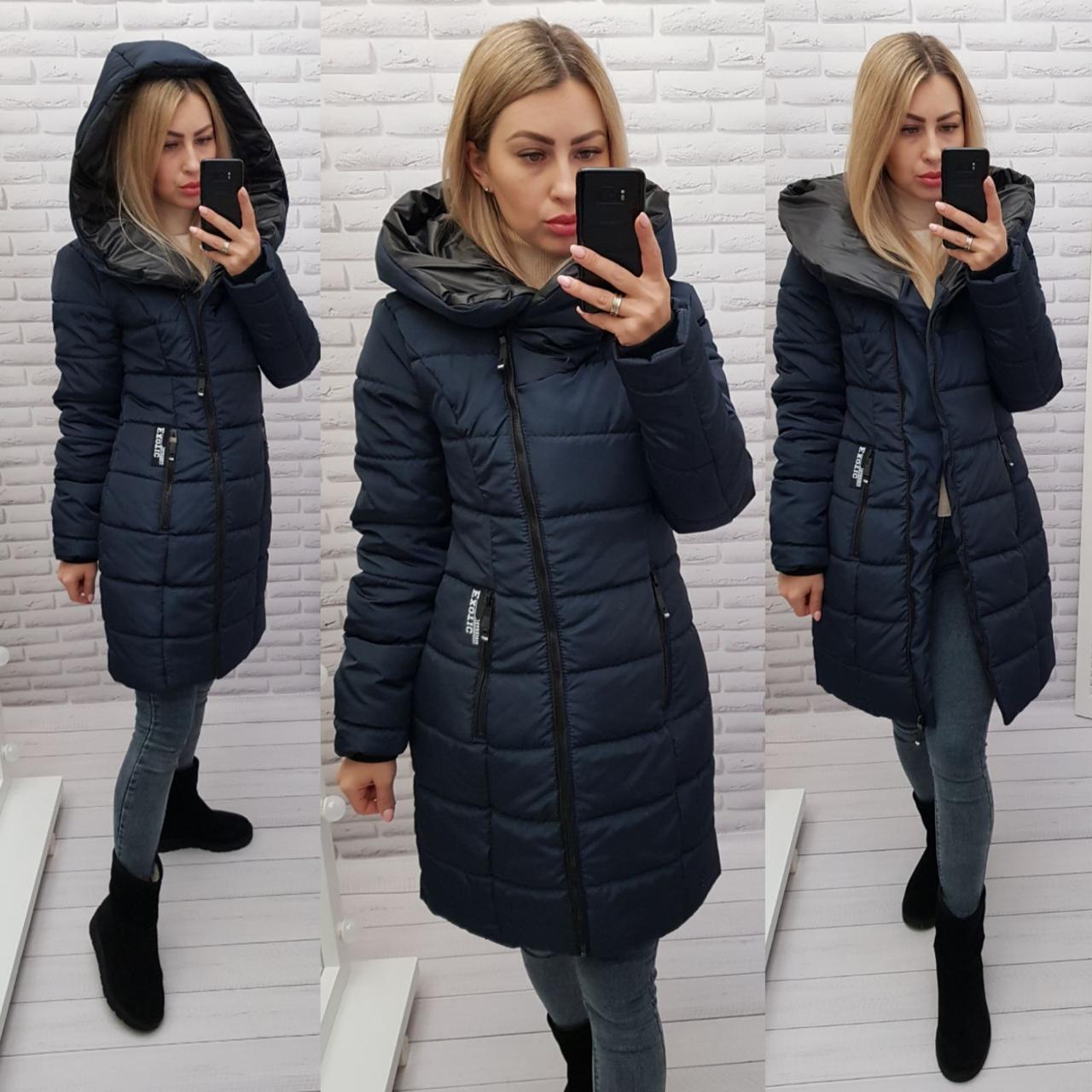 Зимняя куртка-пуховик женская 2021, арт 414, цвет темно-синий