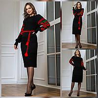 Платье теплое в народном стиле, красивое теплое платье с маками Черный2
