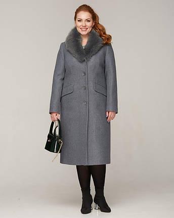 Пальто зимнее с меховой шалью серое, фото 2