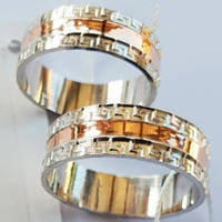 Обручальные кольца серебряные с золотыми накладками без камней ЗФ-033
