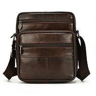 Мужская кожаная сумка через плечо SWAN-28205 Темно-коричневая