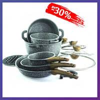 Набор кухонной посуды 18 предметов кастрюли сковороды с антипригарным покрытием Top Kitchen TK00022 Серый
