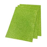 Фоамиран 2мм глиттерный 20х30 см светло зеленый 1912