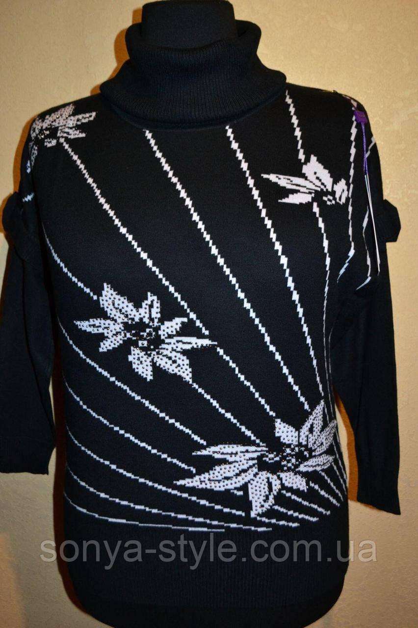 Женская кофта с цветами на груди   больших размеров отличного качества